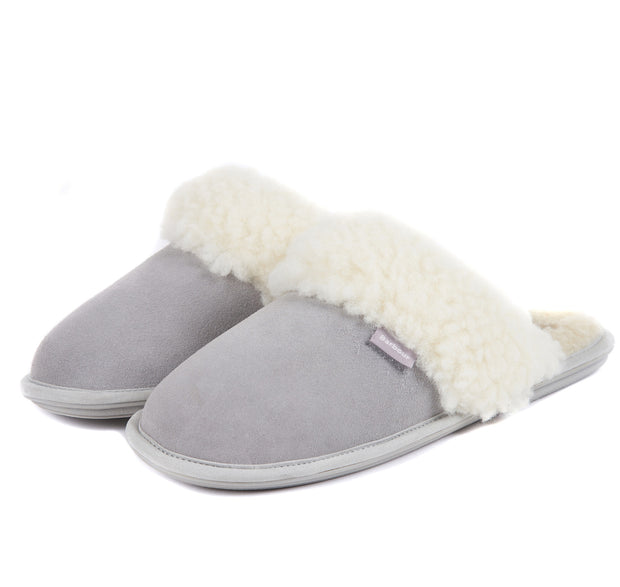 Barbour Ladies Lydia Mule Slippers Grey Suede with Faux Fur Lining