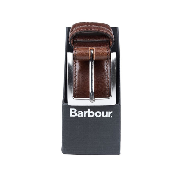 Barbour Mens Belt Giftbox Dark Brown