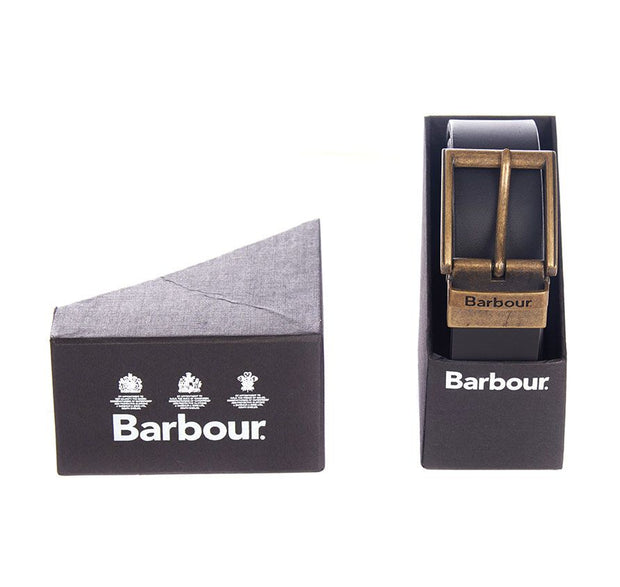 Barbour Mens Reversible Leather Belt in Giftbox  Black