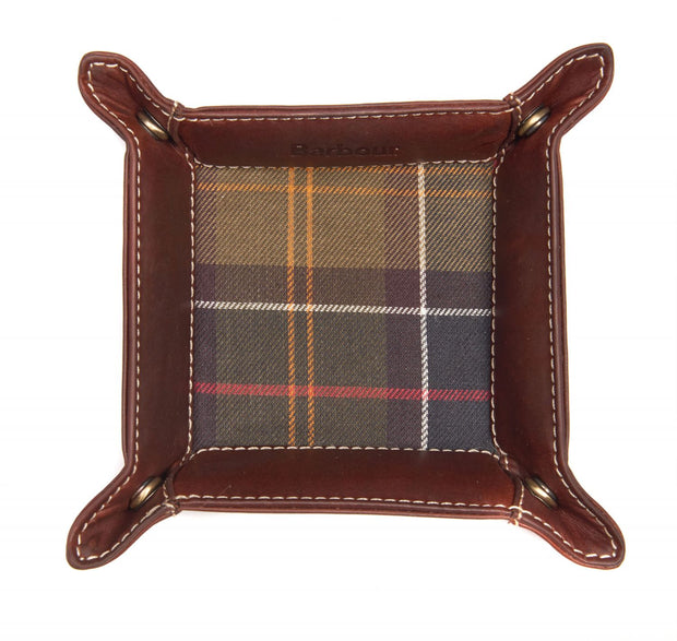 Barbour Mens Tartan & Leather Valet Tray in Gift Box Set