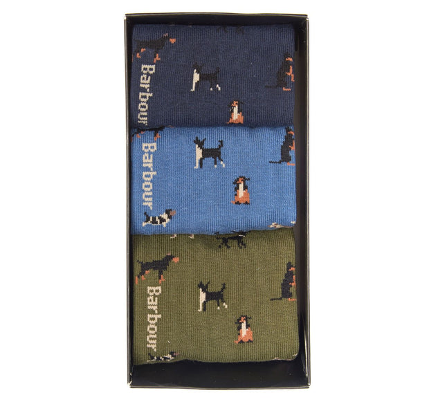 Barbour Mens Dog Motif Sock Giftbox Selection Set