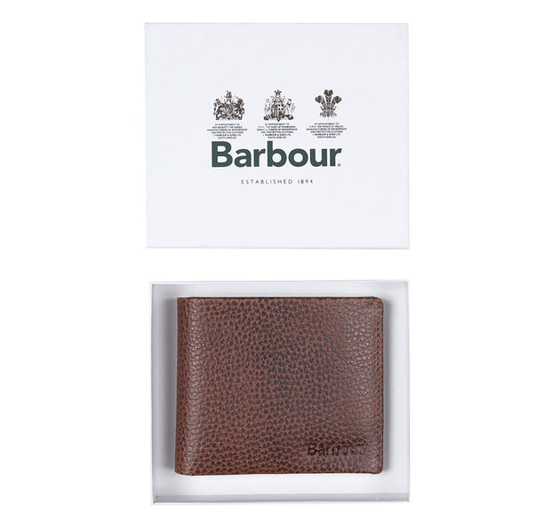 Barbour Laddon Leather Billfold Wallet Brown