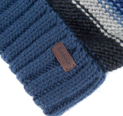 Barbour Mens Harrow Stripe Beanie Hat Grey/Blue