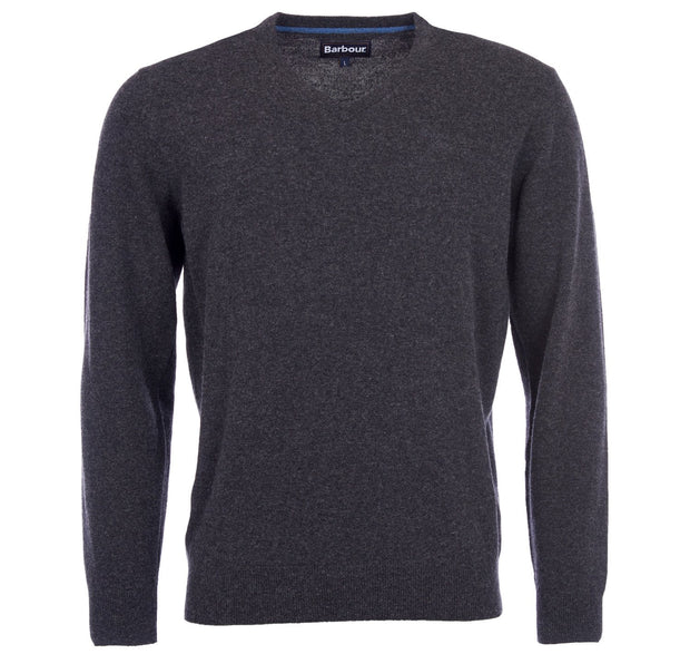 Barbour Mens Essential Lambswool V Neck Sweater Charcoal