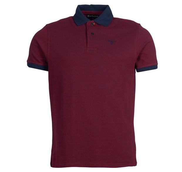 Barbour Mens Sports Polo Mix Shirt Dark Red