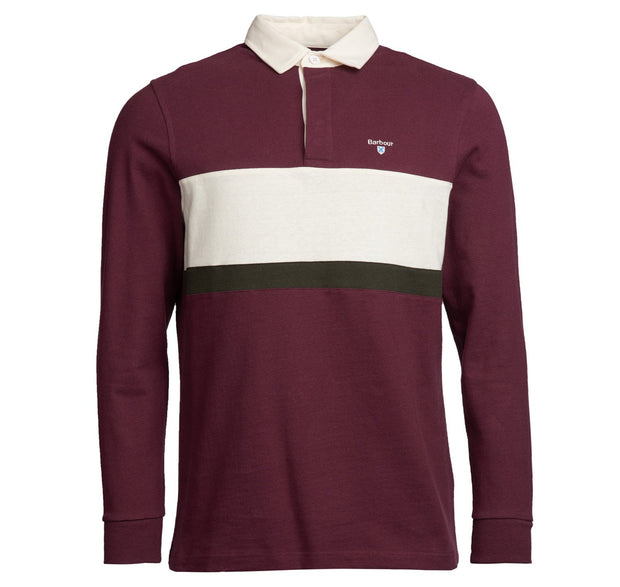 Barbour Mens Weston Panel Rugby Polo Shirt  Merlot