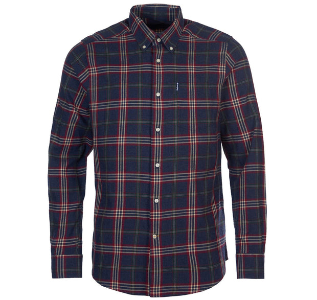 Barbour Mens Highland Check Shirt  7 Tailored Fit Charcoal