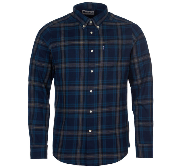 Barbour Mens Highland Check Shirt  7 Tailored Fit  Navy