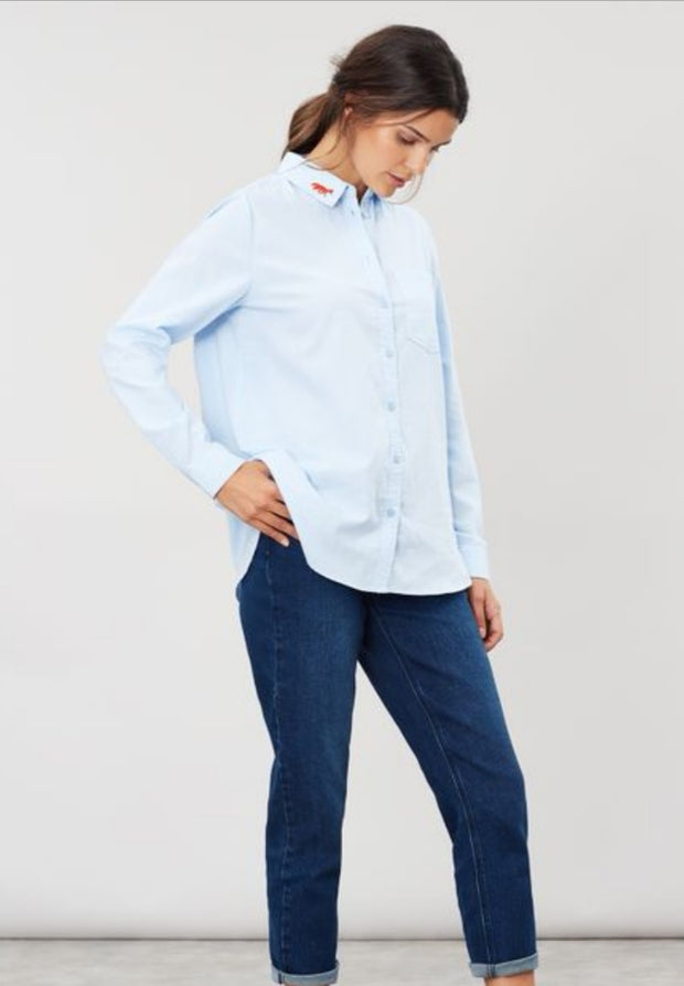 Joules Ladies Lorena Blue Longline Woven Shirt Embroidered Fox