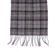 Barbour Mens Ladies Unisex Lambswool Scarf Black/Grey Tartan