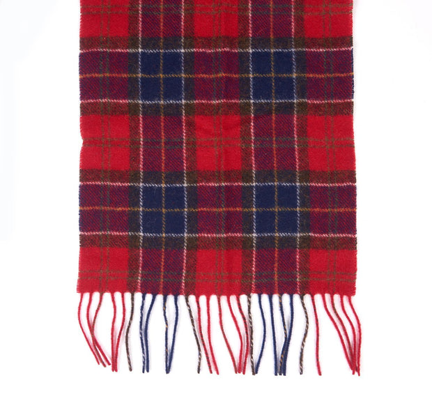Barbour Mens Ladies Unisex Lambswool Scarf Red Tartan