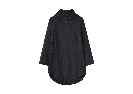 Joules Ladies Pria Poncho With Texture Stitch Cuff Dark Grey Marl