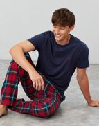 Joules Mens Goodnight Pj Pyjama Set Red Navy Tartan