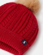 Joules Girls Bobble Bobble Hat Red