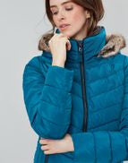 Joules Ladies Gosway Chevron Quilt Padded Jacket With Hood Dark Teal