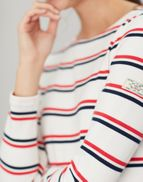 Joules Ladies Harbour Long Sleeve Jersey Top Cream Red Blue Stripe