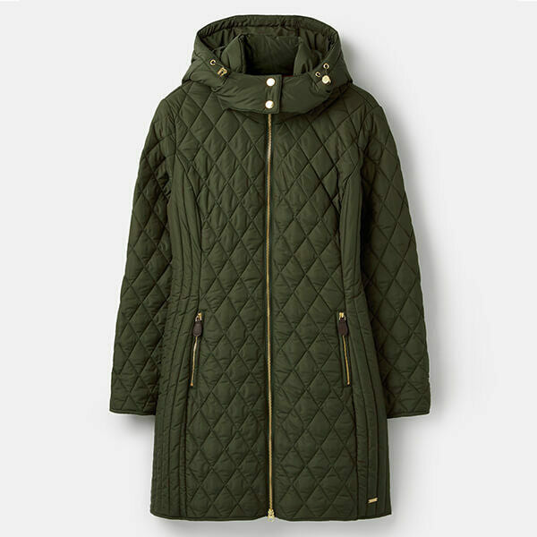 Joules Ladies Chatham Longline Diamond Quilted Puffa Jacket Ever Glade Green