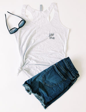 """Just Love"" Racerback Tank - Saylor Design Co"