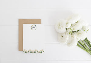 Audrey Roses Monogrammed Stationery - Saylor Design Co