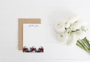 """Christmas Roses Border"" Personalized Stationery - Saylor Design Co"
