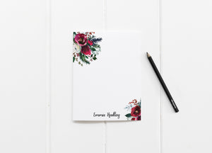 """Christmas Roses Minimalist"" Personalized Stationery - Saylor Design Co"
