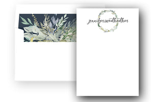 """Shades of Blue"" Personalized Stationery & Lined Envelopes - Saylor Design Co"