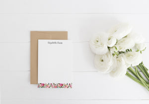 """Fresh Scent Floral Border"" Personalized Stationery - Saylor Design Co"