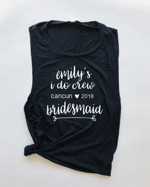 """I Do Crew"" Personalized Destination Wedding Bridal Triblend T Shirt - Saylor Design Co"