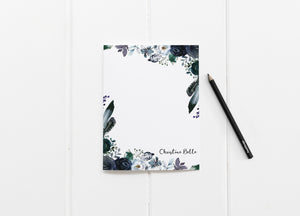 """Navy & Light Blue Peonies"" Personalized Stationery - Saylor Design Co"