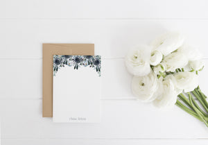"""Navy Peonies"" Personalized Stationery - Saylor Design Co"