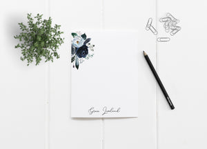 """Navy Peonies Minimalist"" Personalized Stationery - Saylor Design Co"