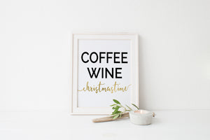 """Coffee Wine Christmastime"" Print - Saylor Design Co"