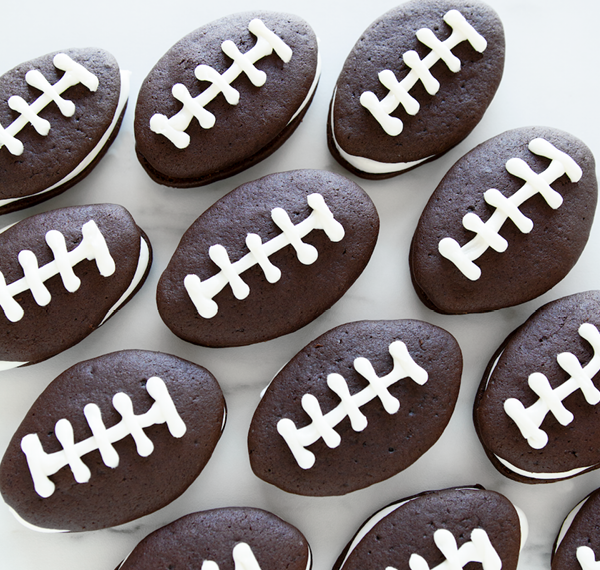 Football shaped Chocolate Whoopie Pies