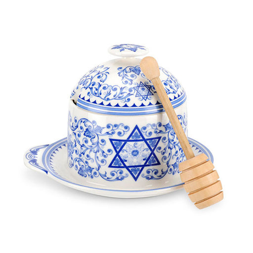 Portmeirion Judaica Honey Pot with Drizzler