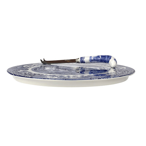 Portmeirion Blue Italian Cheese Plate with Knife