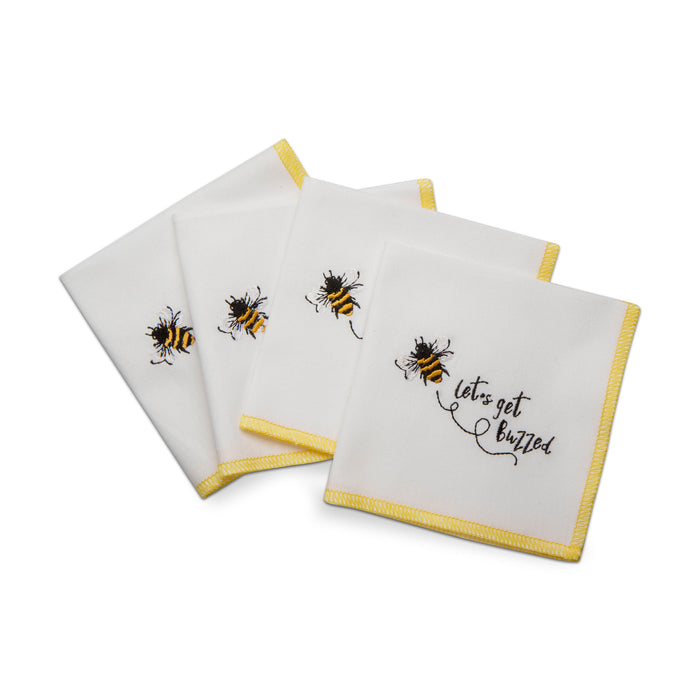 Set of 4 Buzzed Bee Napkins