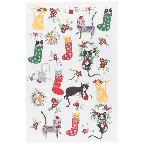 Now Designs Set of 3 Meowy Christmas Floursack Towels