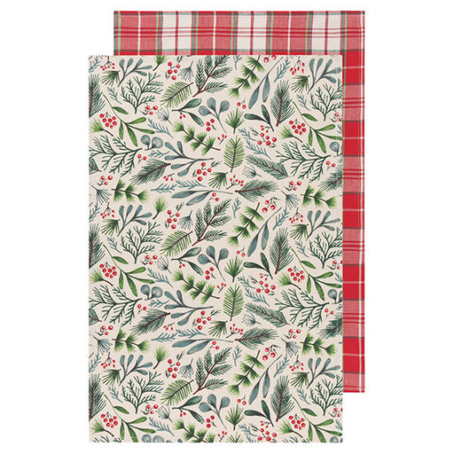 Set of 2 Bough & Berry Dishtowels