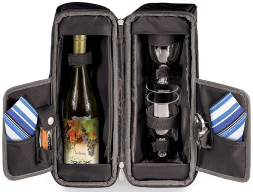 Picnic Time Estate Wine Tote Black