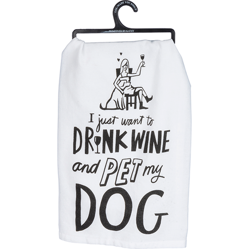 Primitives By Kathy Drink Wine Pet Dog Tea Towel