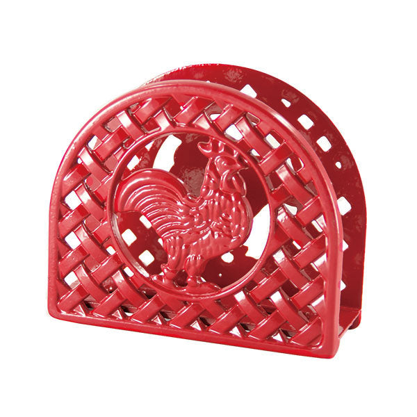 Cast Iron Red Rooster Napkin Holder