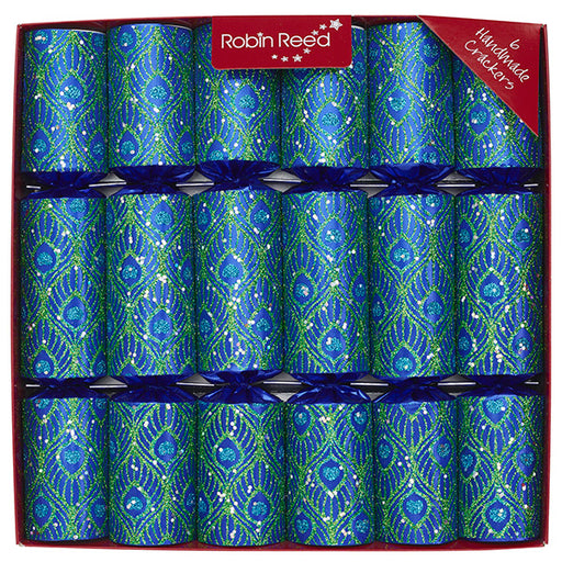 Robin Reed 6 Piece Peacock Christmas Crackers