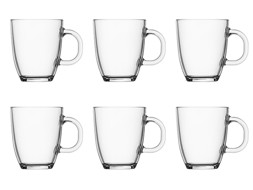 Bodum Set of 6 Bistro 12 oz Glass Coffee Mugs