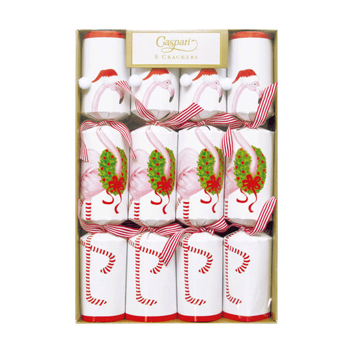 Caspari Set of 8 Flamingo Christmas Crackers