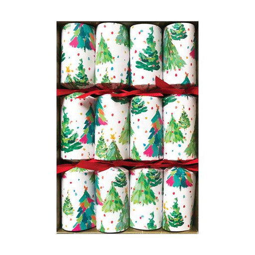 Caspari Set of 8 Brushstroke Trees Christmas Crackers