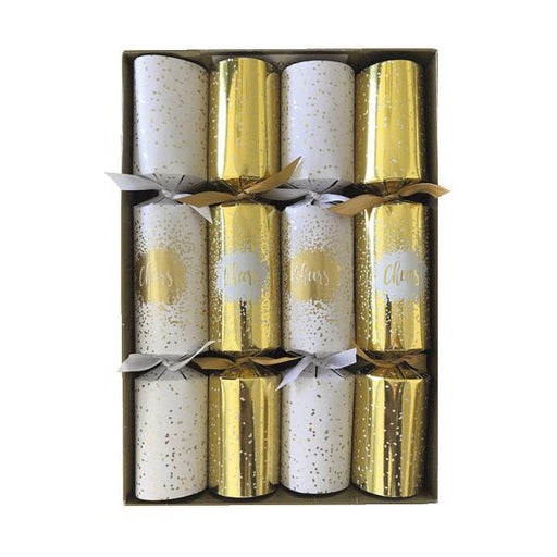 Caspari Set of 8 Cheers Gold Christmas Crackers