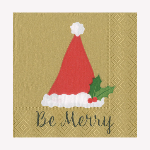 Be Merry Gold Paper Beverage Napkins