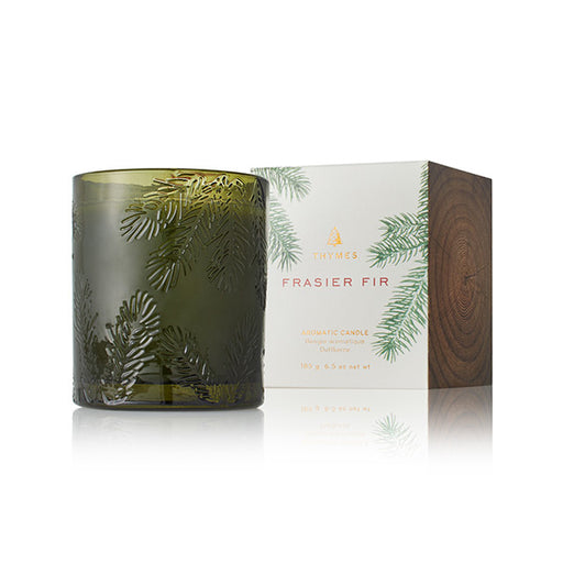 Thymes Frasier Fir Poured Candle in Green Molded Glass