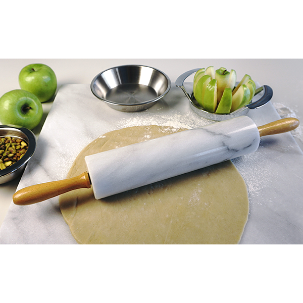White Marble Rolling Pin with Stand