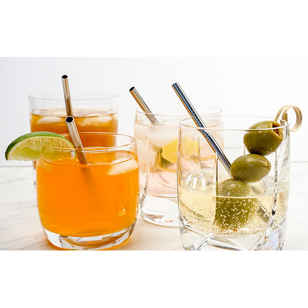 RSVP Set of 4 Stainless Steel Short Drinking Straws